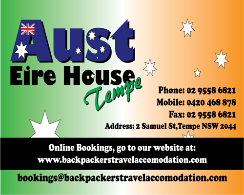 Aust Eire House Tempe - Newcastle Accommodation